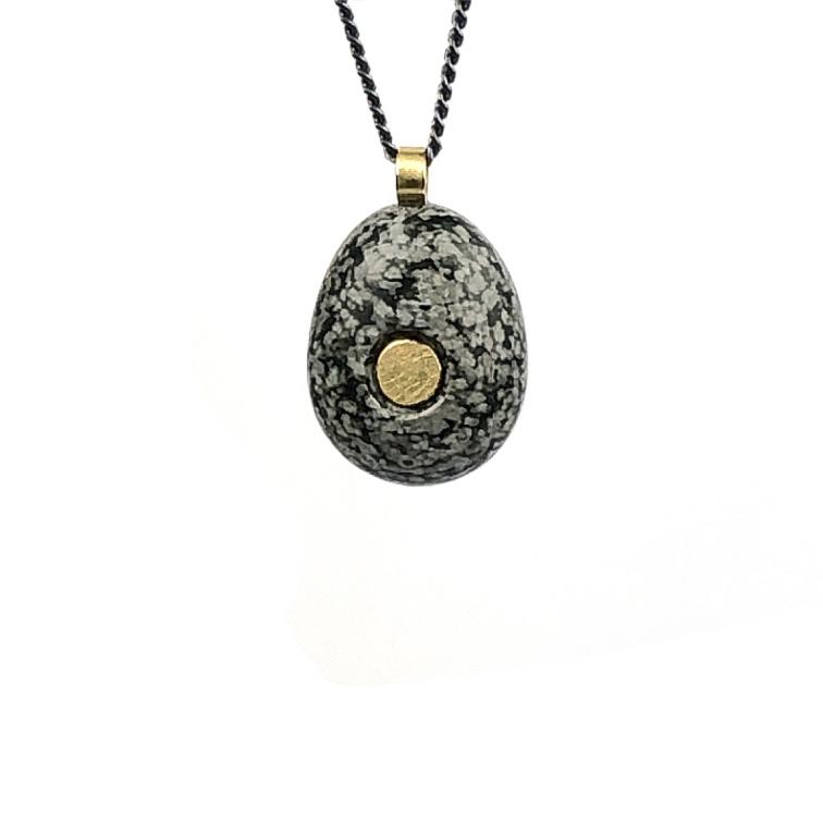 Koester Sneeuwvlok obsidiaan, 18 krt goud, 1,9cm, zilver, € 300