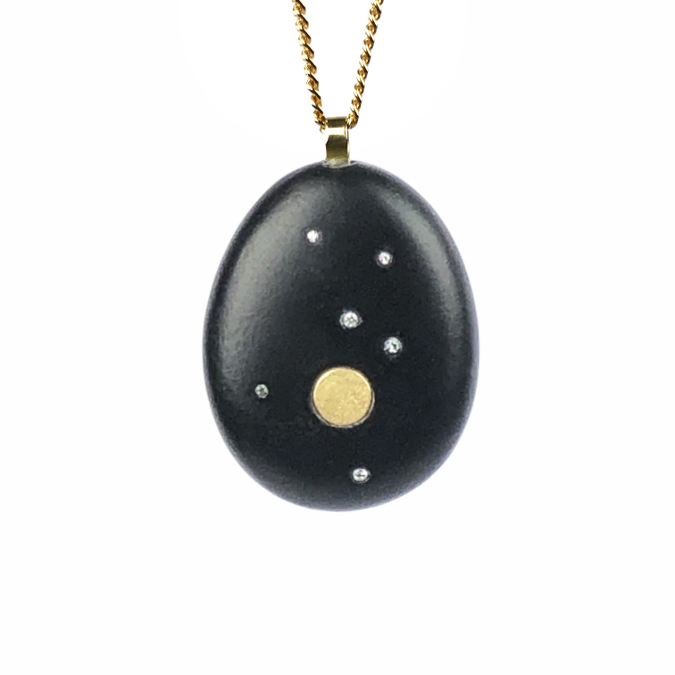 Koester ashanger basalt, 18 krt goud, diamant, n.o.t.k